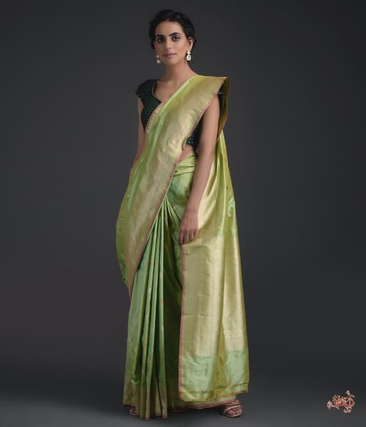 Handwoven Kadhwa Booti Saree With Heavy Brocade Blouse Saree