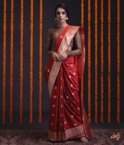 Red Kadhwa Banarasi Saree With Konia Pallu Saree