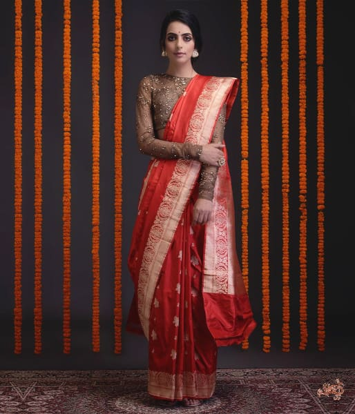 Red Floral Border Saree With Kadhwa Booti Saree