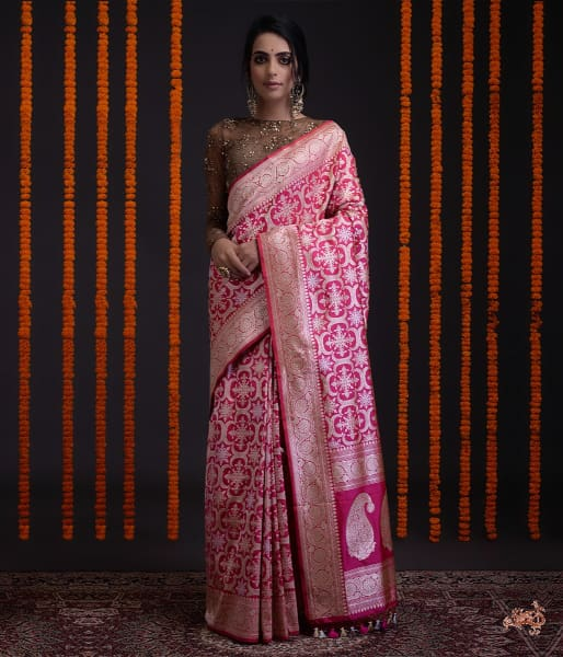 Hot Pink Kadhwa Banarasi Jangla With Rangoli Design Saree