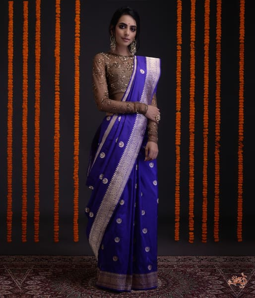 Blue And Purple Dual Tone Kadhwa Banarasi Saree With Konia Pallu Saree