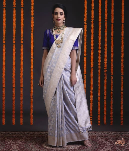 Light Grey Sona Rupa Kadhwa Jangla Saree
