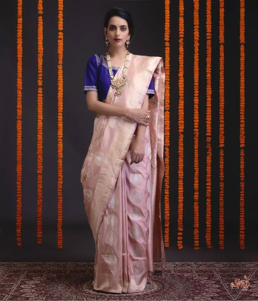 Soft Pink Katan Silk Saree With Heavy Gold Zari And Meenakari Motifs Saree