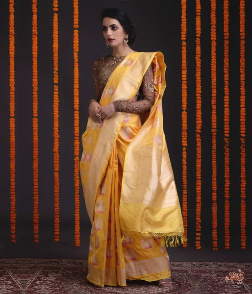 Yellow Katan Silk Saree With Heavy Gold Zari And Meenakari Motifs Saree