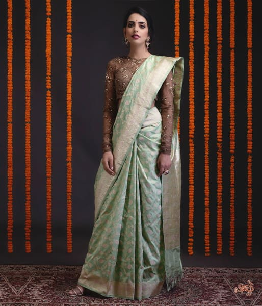 Fresh Green Sona Rupa Kadhwa Jangla With Meenakari Saree