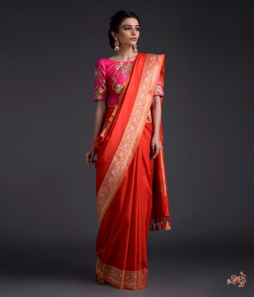 Handwoven Red Banarasi Saree With Konia Pallu Saree