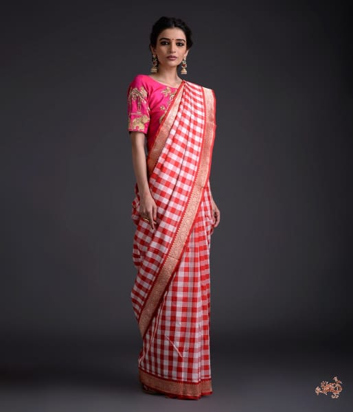 Red And White Handwoven Checks Saree With Kadhwa Border Pallu Saree