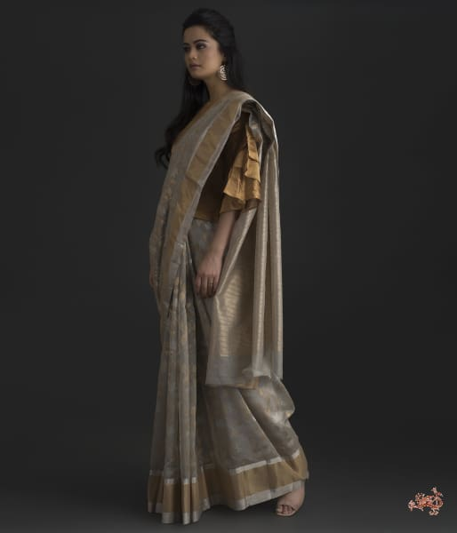 Grey Chanderi Silk Saree With Gold Silver Floral Jaal Saree