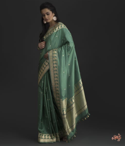 Jade Green Kadhwa Booti Saree With Meenakari Saree