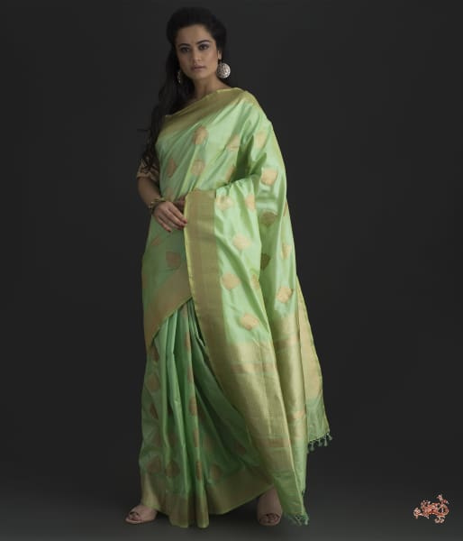 Light Green Katan Silk Saree With Mehraab Booti Saree