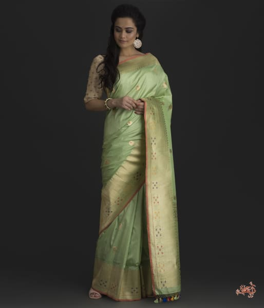 Pistachio Green Kadhwa Booti Saree With Meenakari Saree