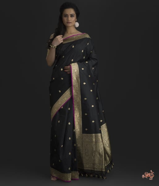 Handwoven Kadhwa Booti Banarsi Saree In Black Saree