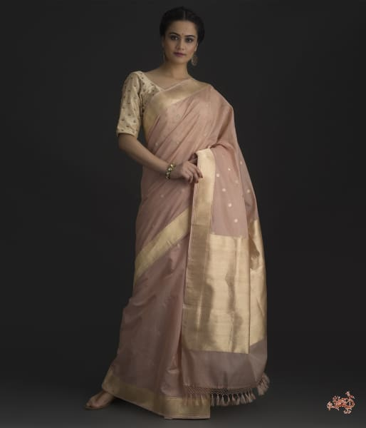 Blush Pink Cotton Silk Banarasi Saree With Kadhwa Border And Pallu Saree