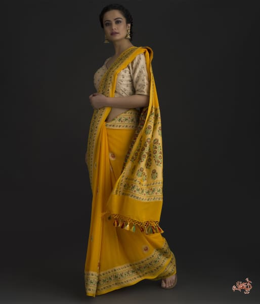 Yellow Banarasi Georgette Saree With Paithani Borders And Bird Motifs Saree