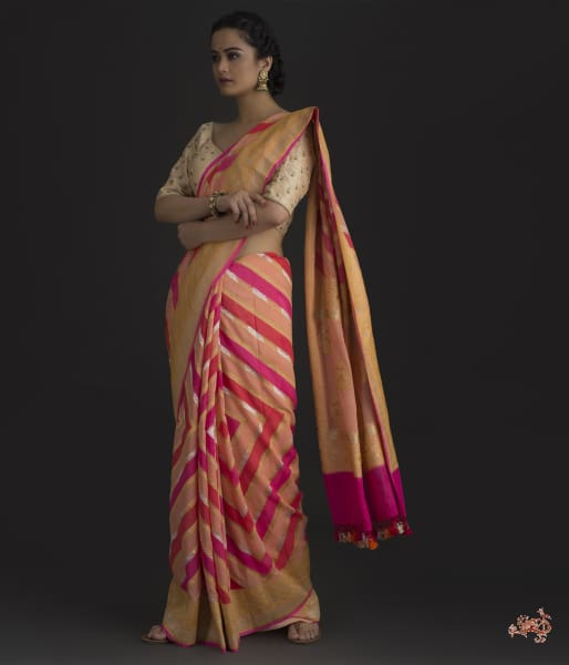 Peach And Pink Khaddi Jangla With Rangkat Dye Saree