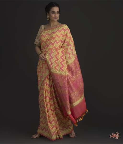 Yellow And Peach Banarasi Georgette Saree Saree
