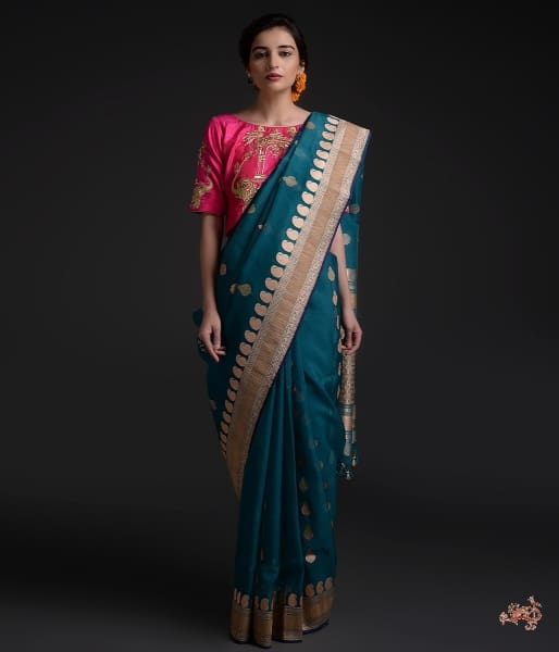 Peacock Blue Handwoven Kora Silk Saree With Paisley Border Saree