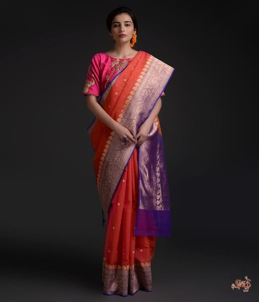 a895c730a94b3f Orange and Purple Banarasi Kora silk saree - WeaverStory