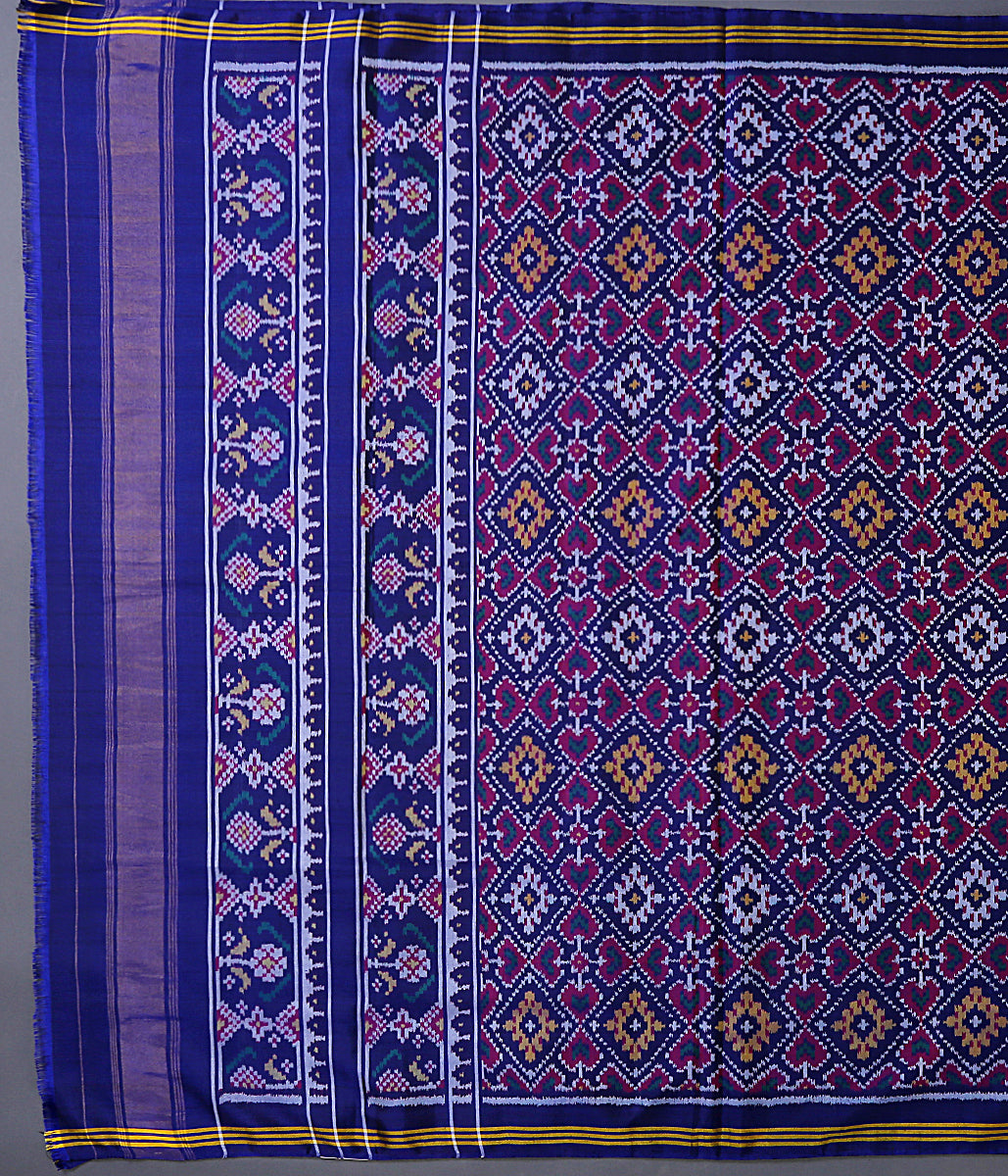 Blue single ikat 8 ply patola dupatta
