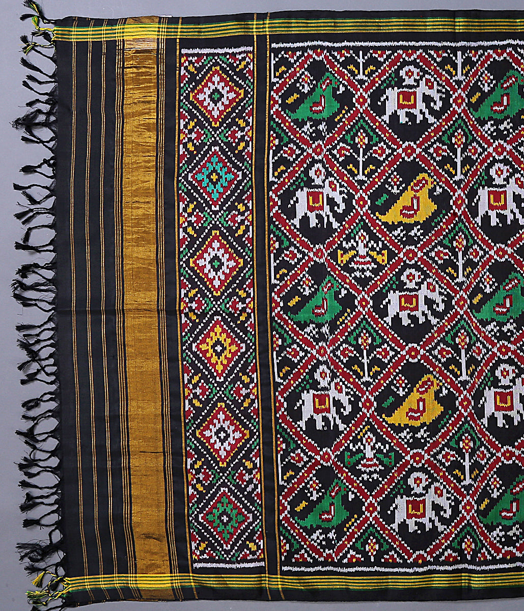 Black Single Ikat 8 Ply silk Patola Dupatta