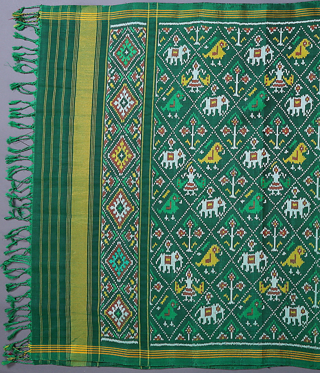 Green Single Ikat 8 ply Patola Dupatta