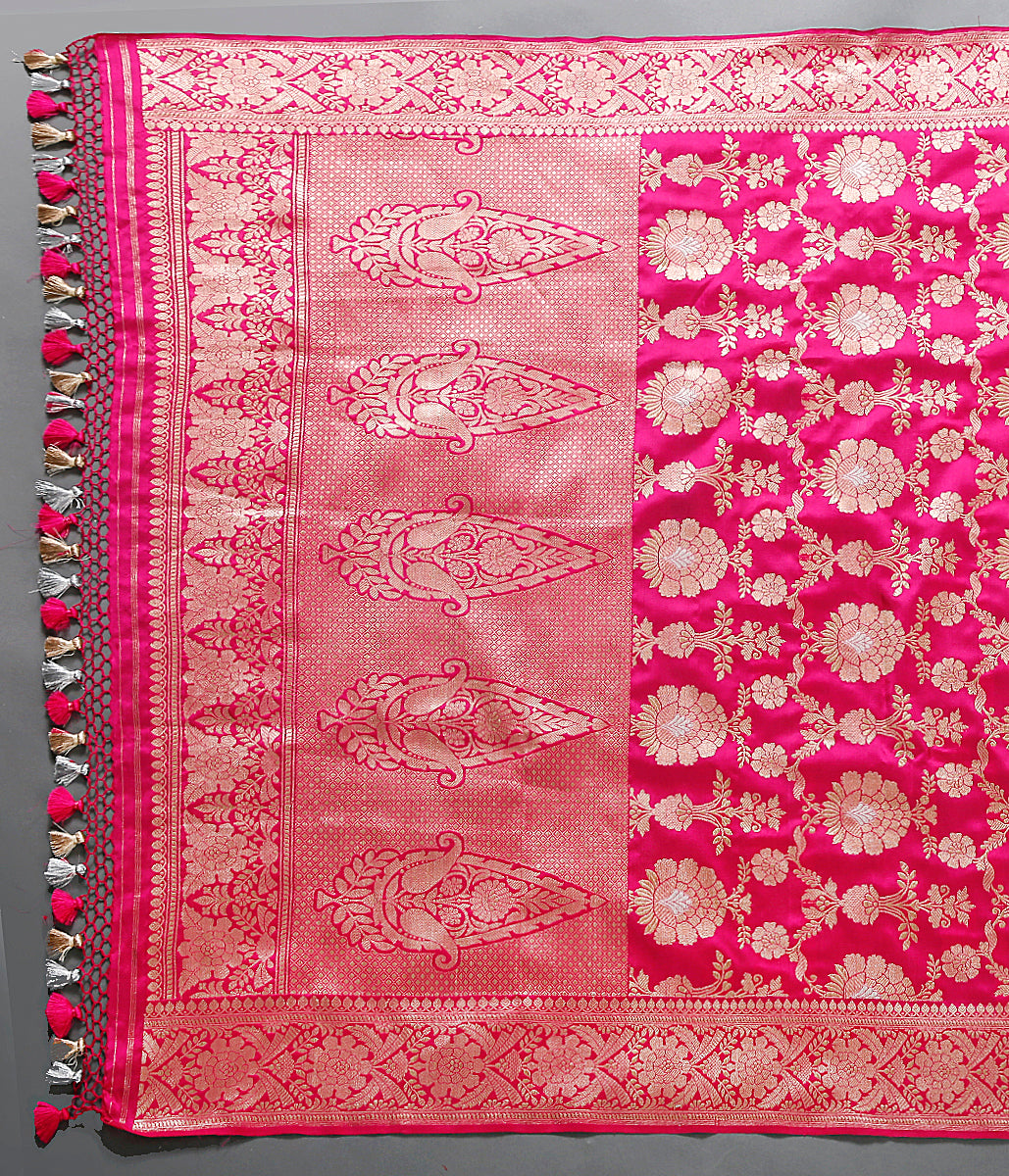Katan silk jangla Dupatta with jhoomar jaal in a stunning Pink color