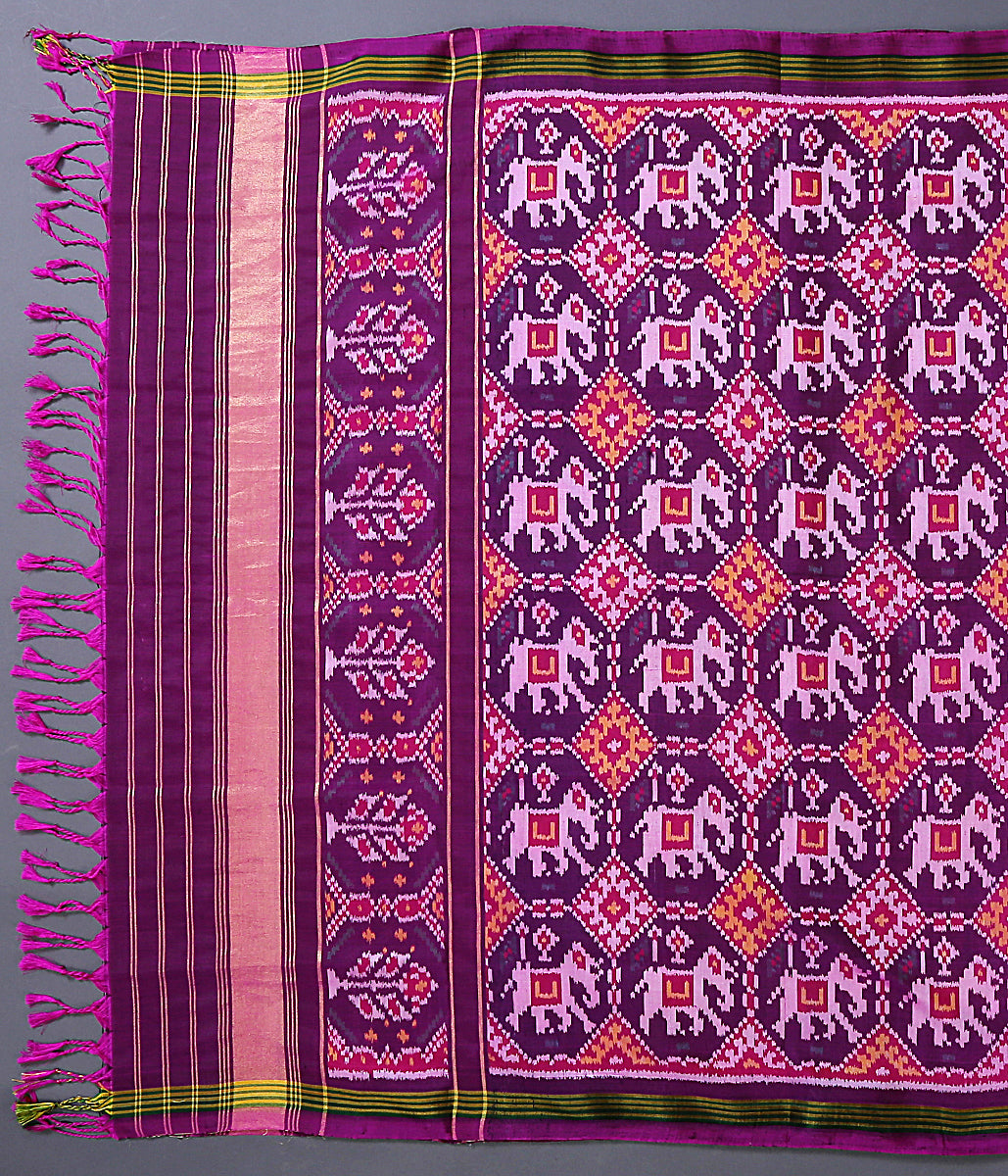 Handwoven ikat dupatta in a rich purple color