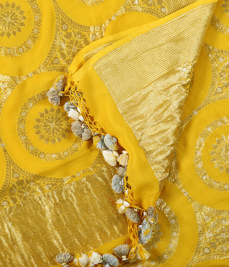 Yellow Banarasi Georgette Dupatta With gold and silver zari