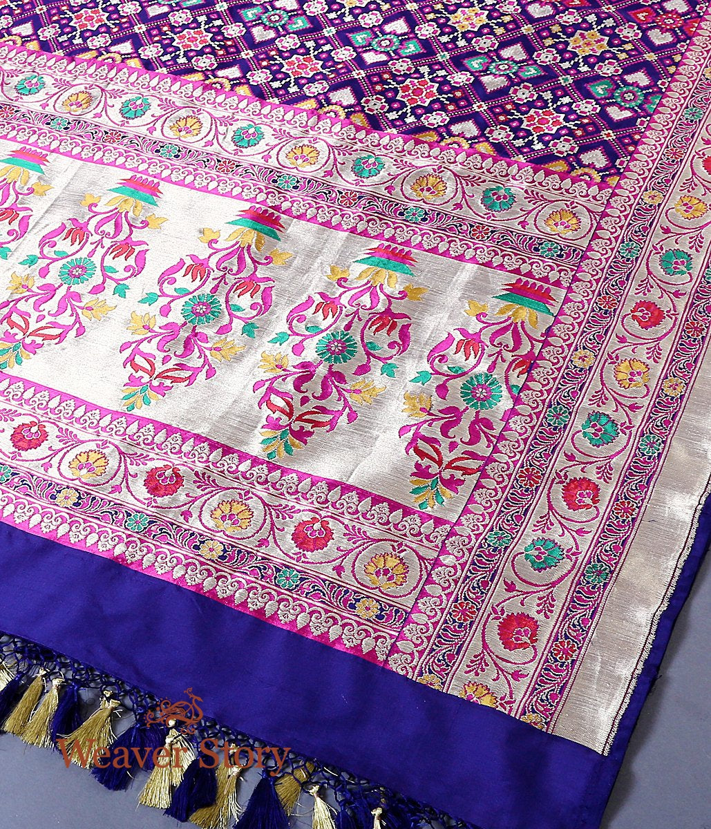 Handwoven banarasi patola dupatta in blue with meenakari
