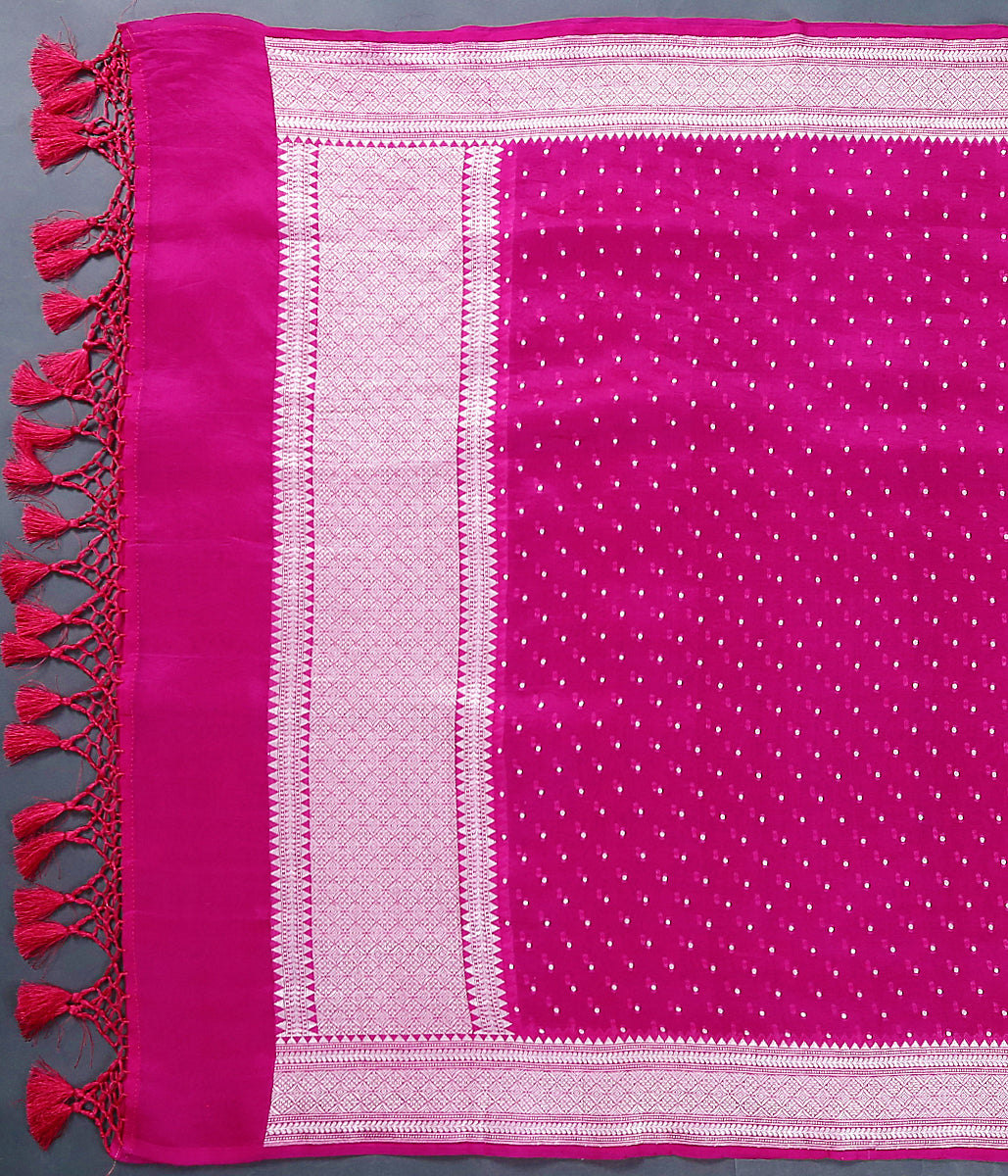 Handwoven Bnaarsi organza dupatta in hot pink with silver zari weave