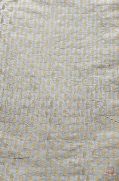 Cream and gold cotton banarasi fabric with dew drop motifs - WeaverStory - 1