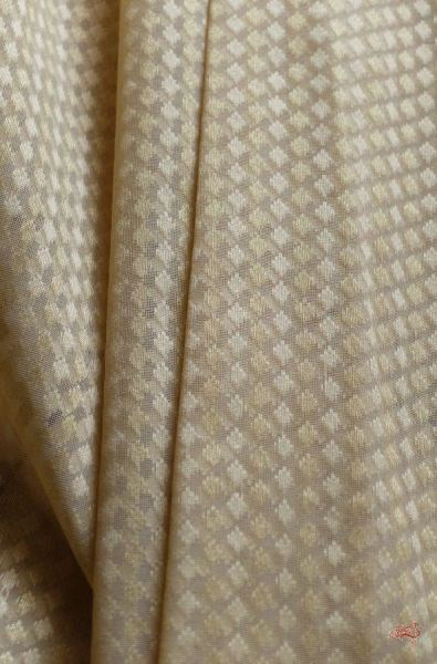 Beige and gold banarais booti fabric in cotton - WeaverStory - 1