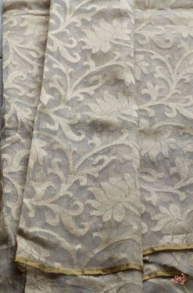 Beige and gold banarasi net fabric with floral jaal - WeaverStory - 1