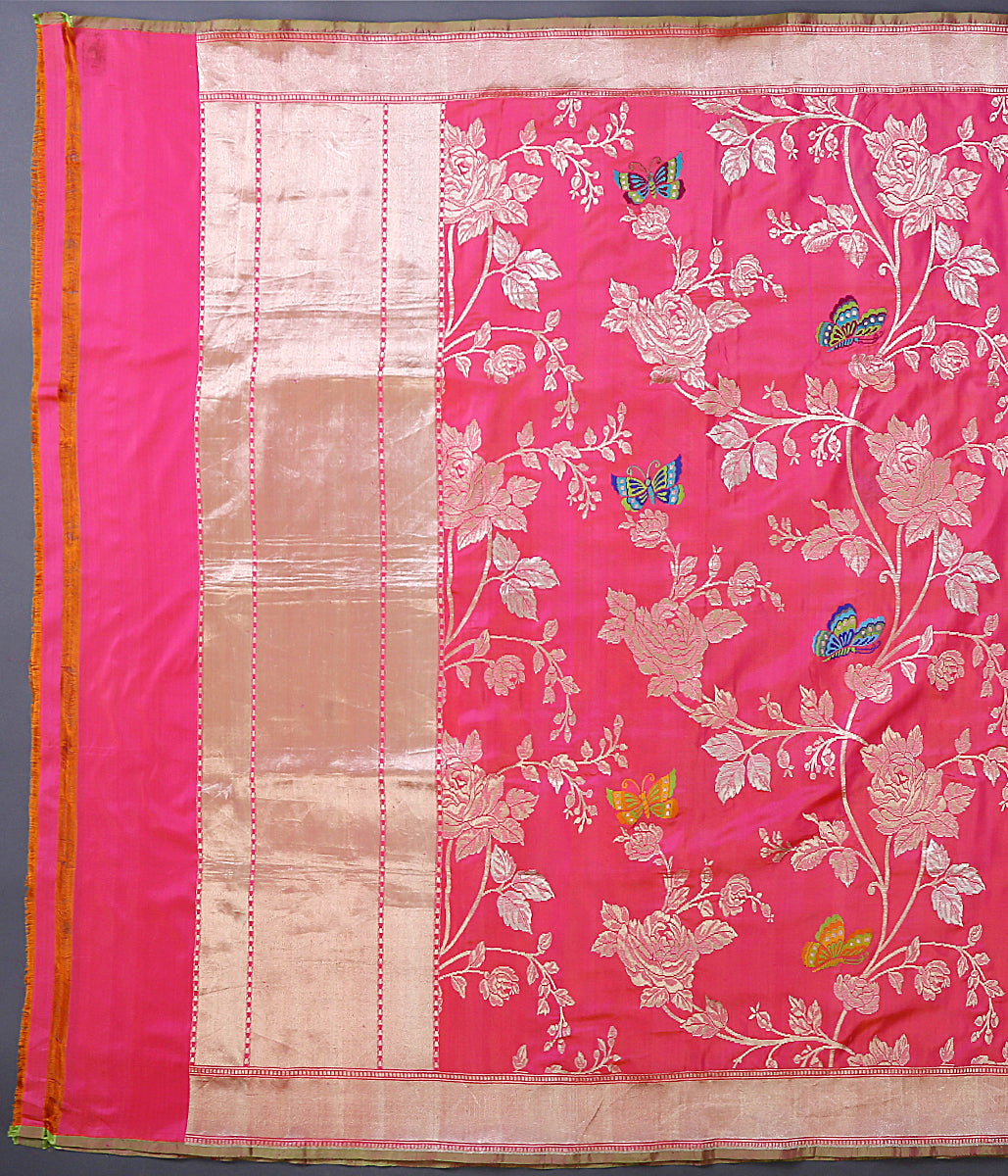 Hot Pink and orange dual tone banarasi kadhwa jangla dupatta with meenakari