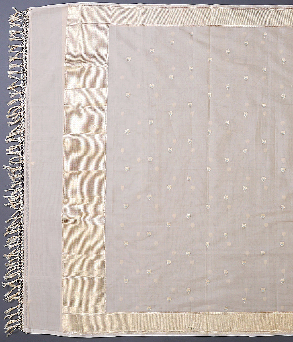 Beige Handwoven cotton silk dupatta with meenkari kadhwa booti