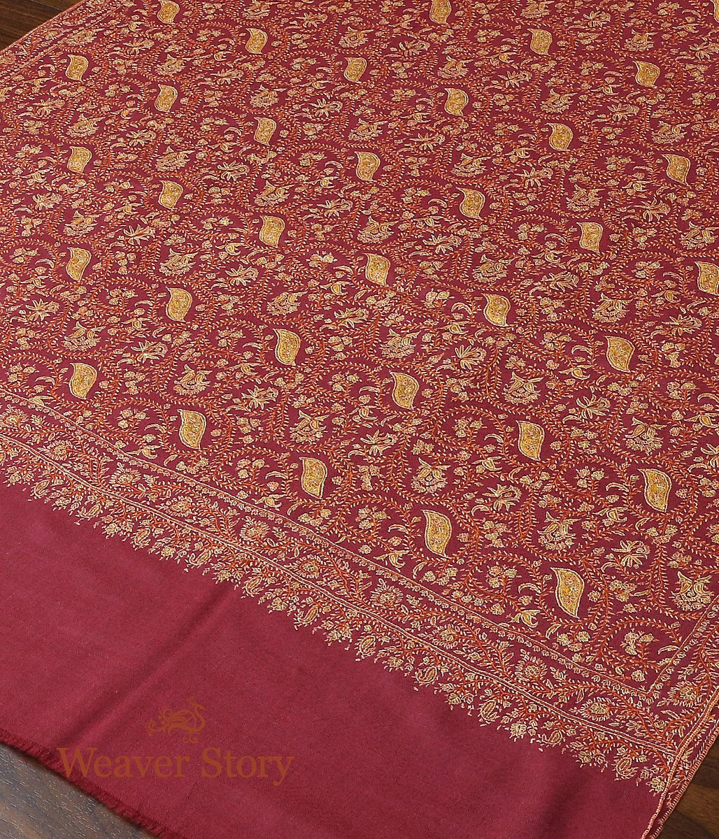 Berry Pink Hand Spun and Hand Woven Pure Pashmina Shawl with Sozni Embroidery