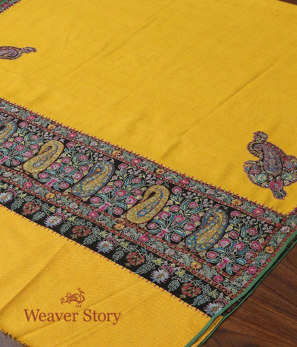 French Ochre Hand Spun and Hand Woven Pure Pashmina Shawl with Kalamkari Appliqued Borders