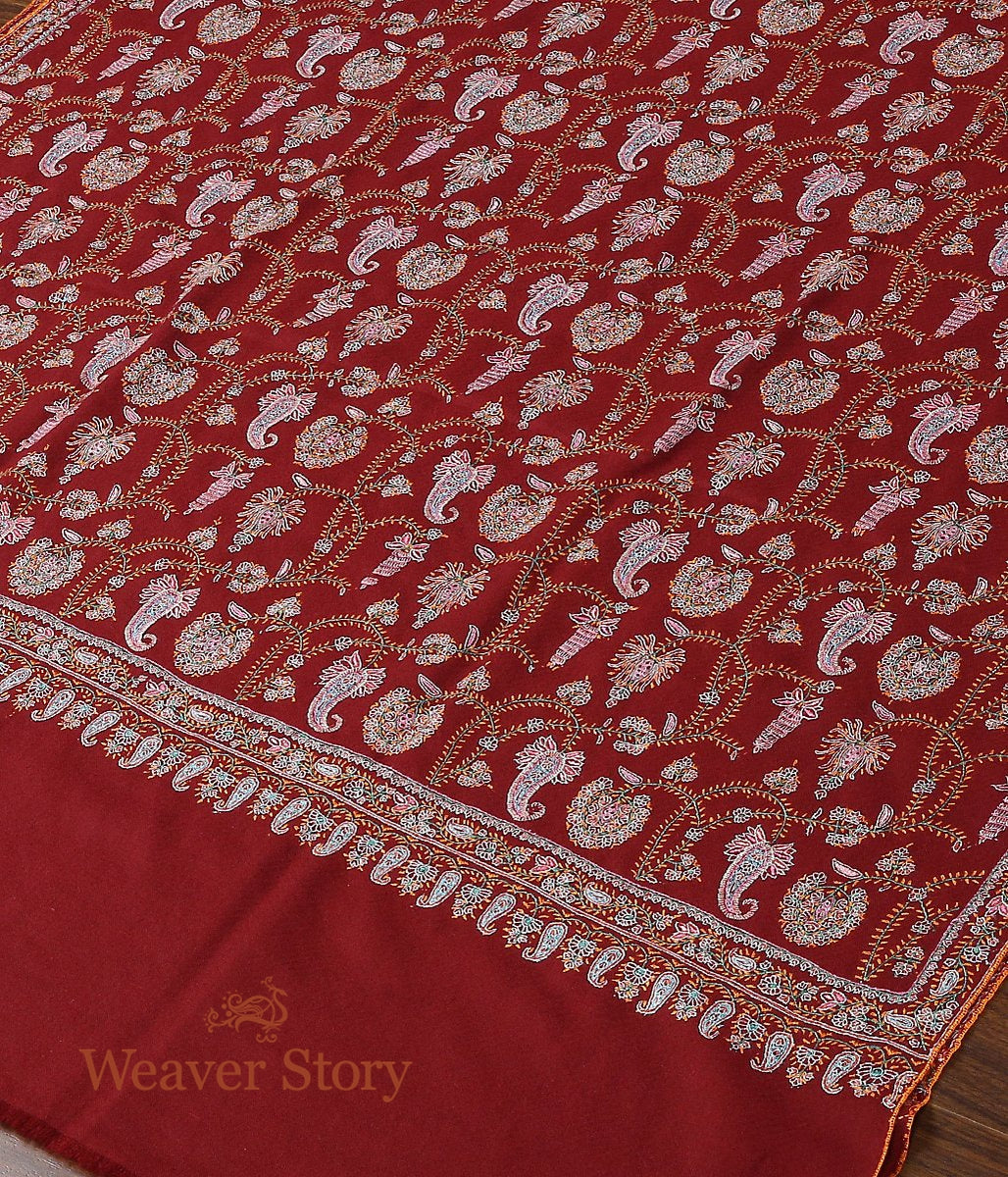Maroon Hand Spun and Hand Woven Pure Pashmina Shawl with Sozni Embroidery