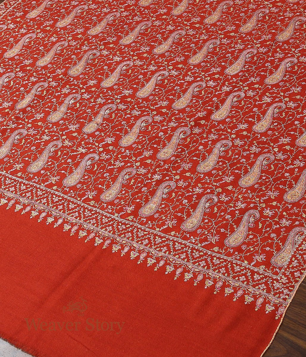 Brick Red Hand Spun and Hand Woven Pure Pashmina Shawl with Sozni Embroidery