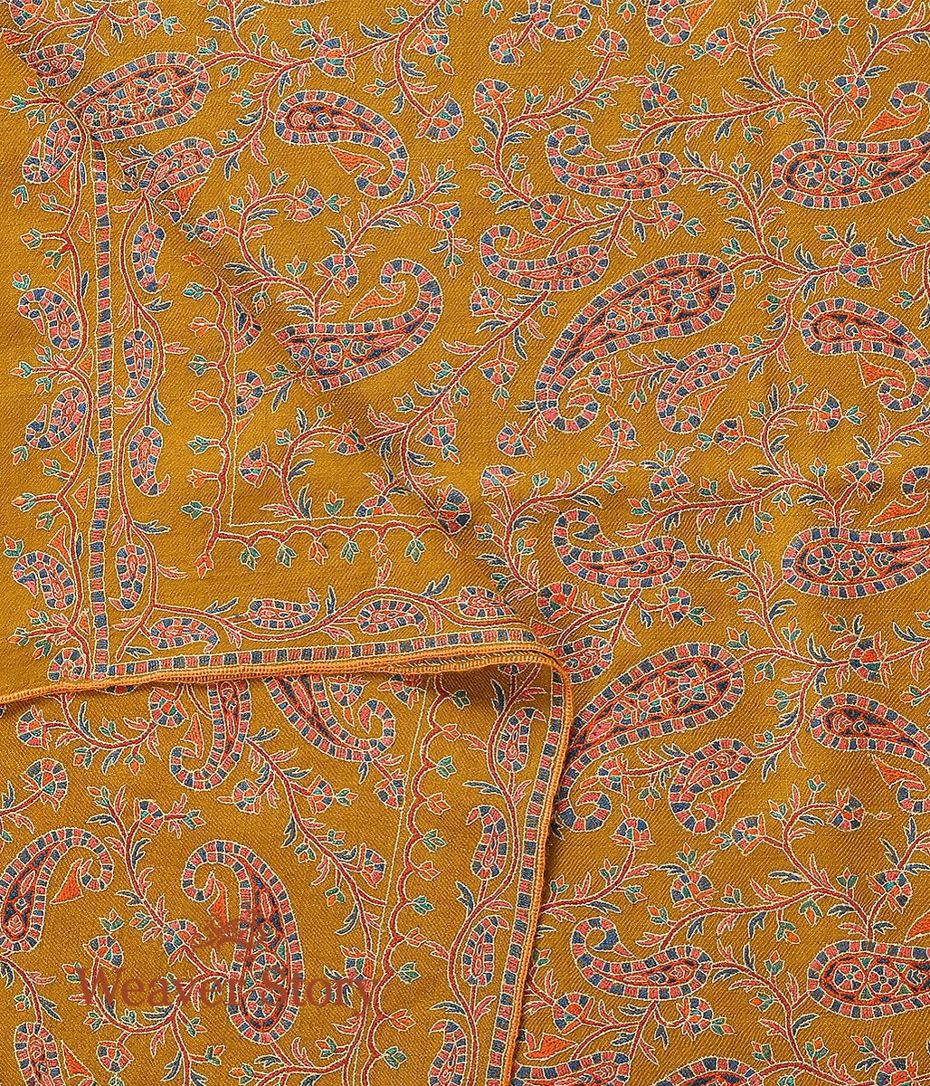 Mustard Hand Spun and Hand Woven Pure Pashmina Shawl with Sozni Embroidery