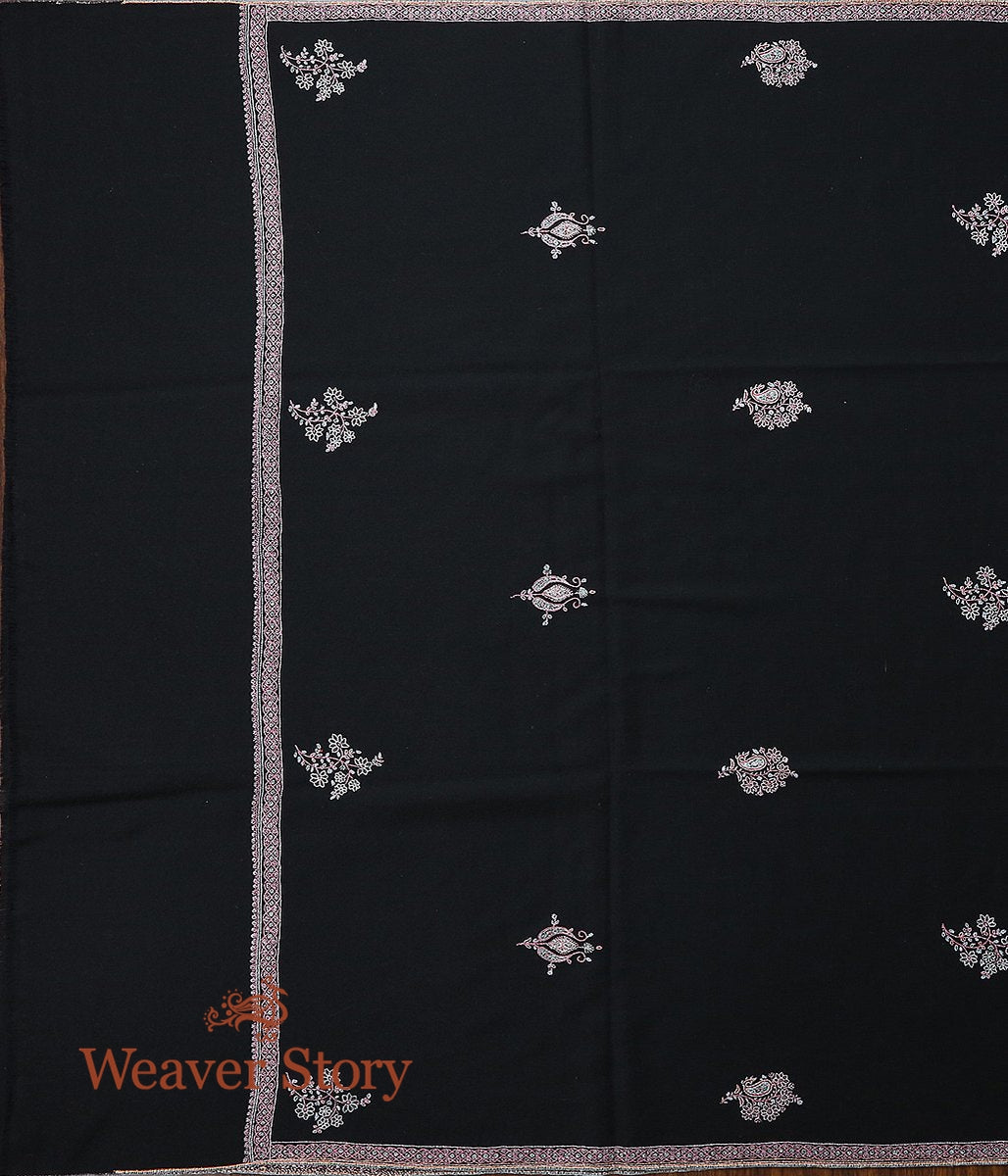 Black Hand Spun and Hand Woven Pure Pashmina Shawl with Sozni Embroidery