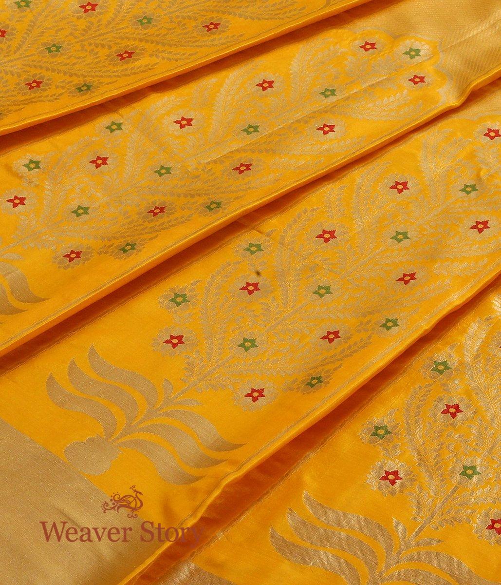 Handwoven Yellow Banarasi Lehenga with Meenakari