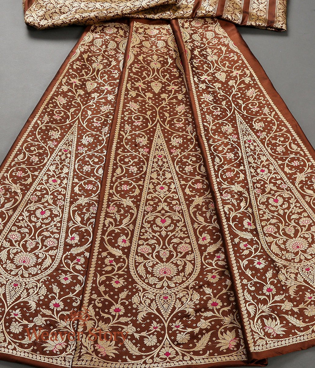 Handwoven Banarasi kalidar Lehenga in Chocolate Brown with Meenakari