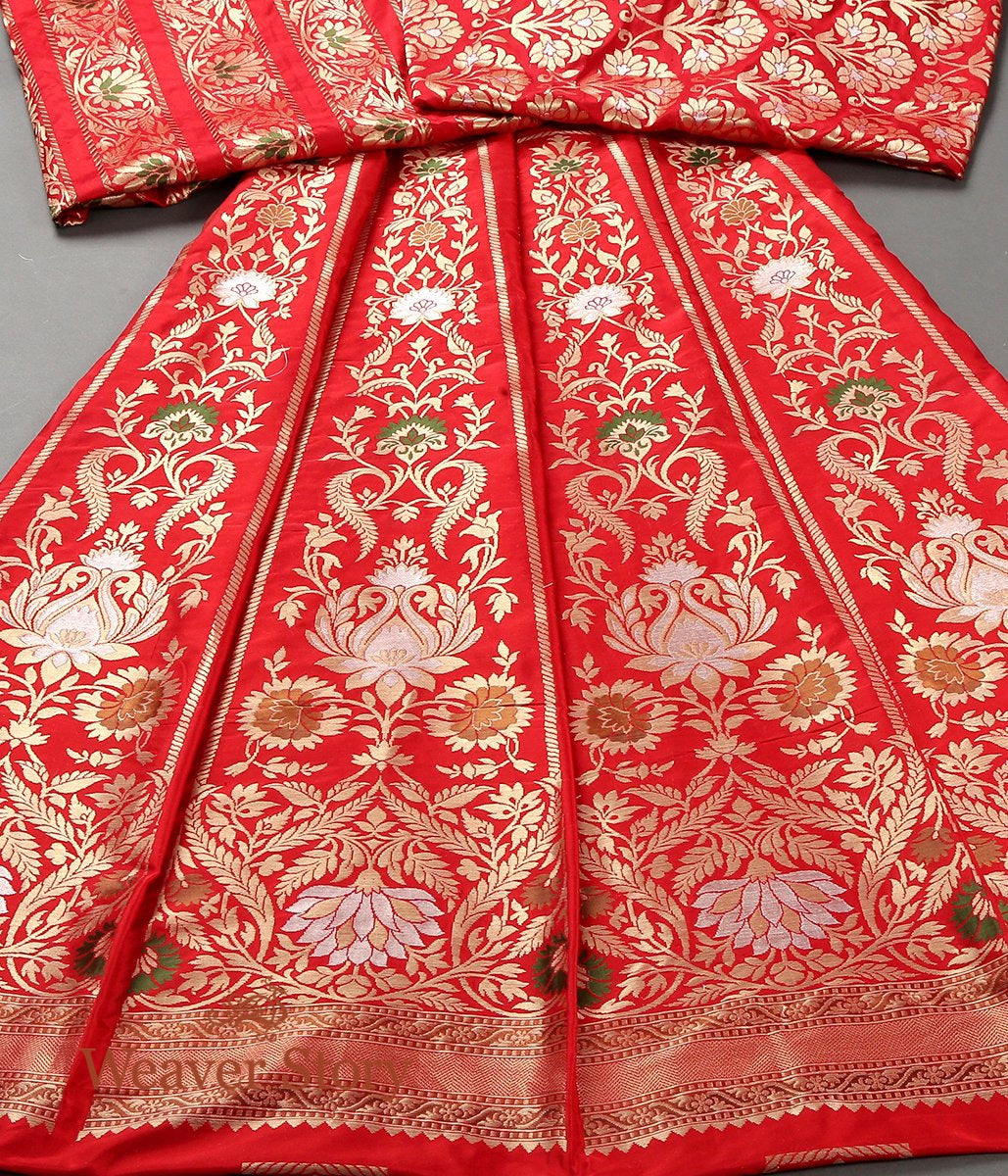 Handwoven Red Banarasi Lehenga with Meenakari