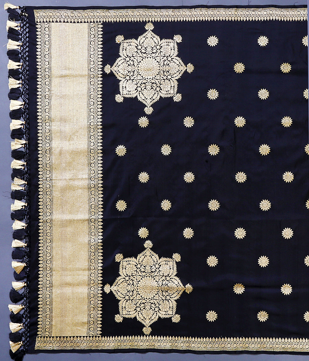Handwoven black katan silk dupatta with large floral motifs woven in kadhwa weave