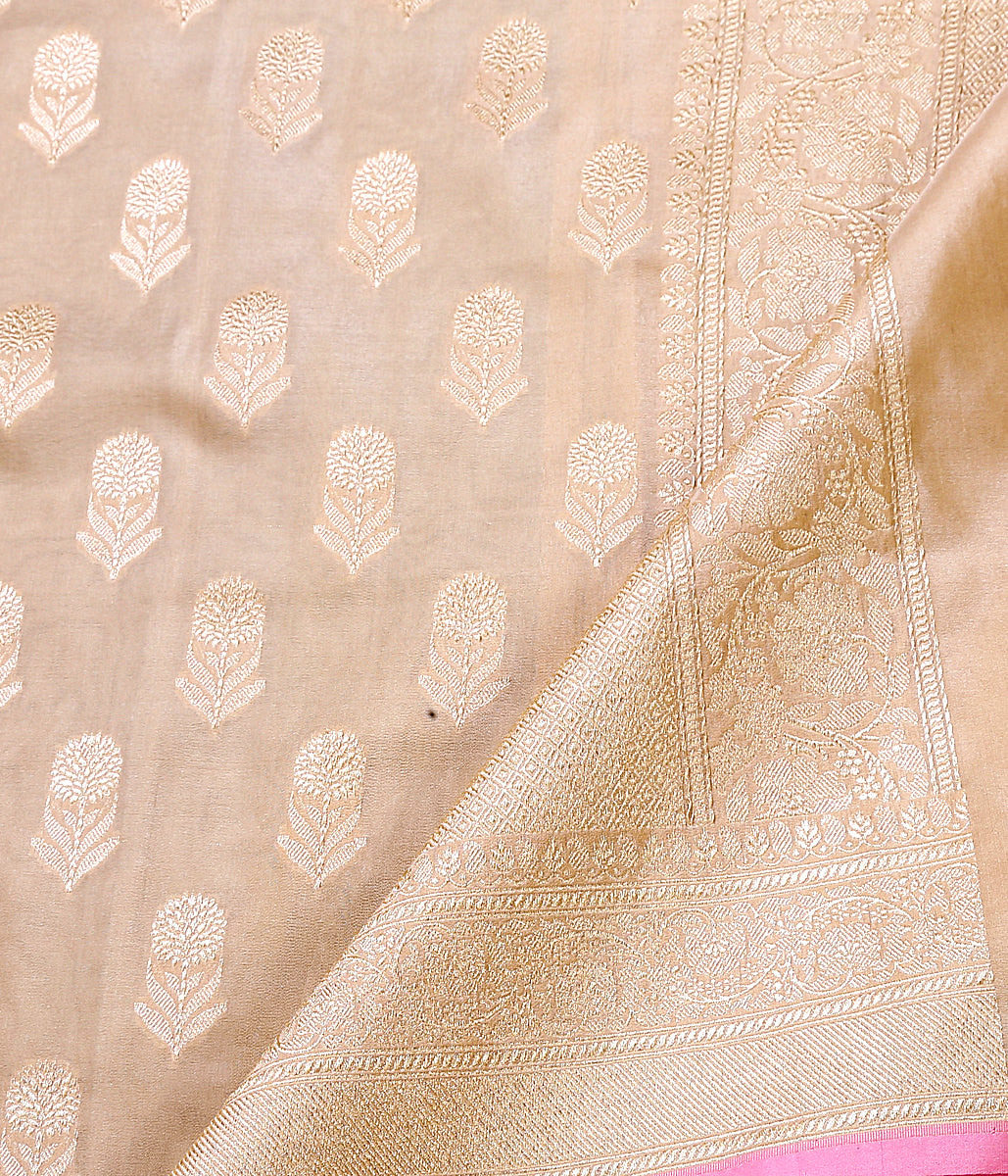 Beige floral motif boota dupatta with pink selvedge