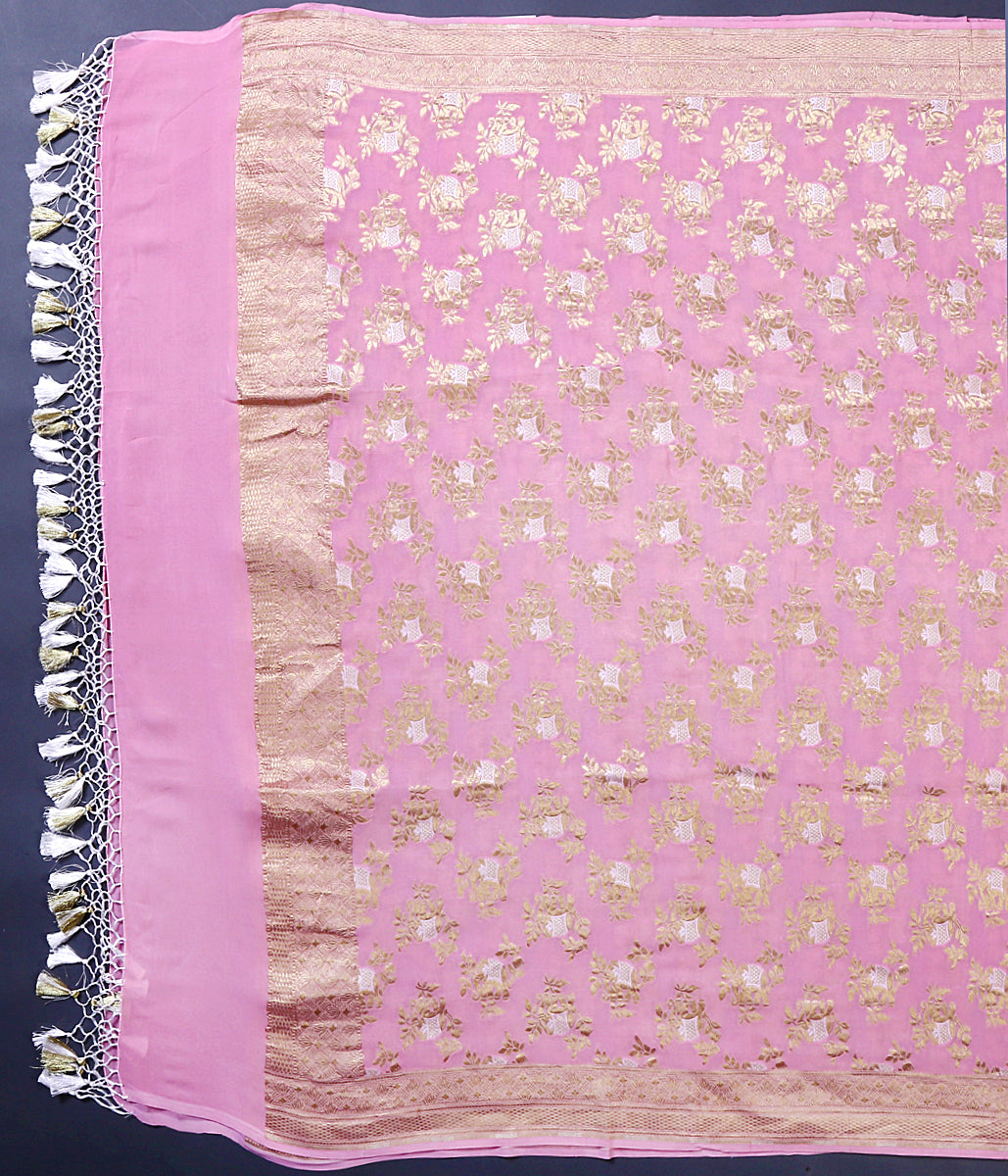 Light Pink Banarasi georgette dupatta with gold and silver zari elephant motifs