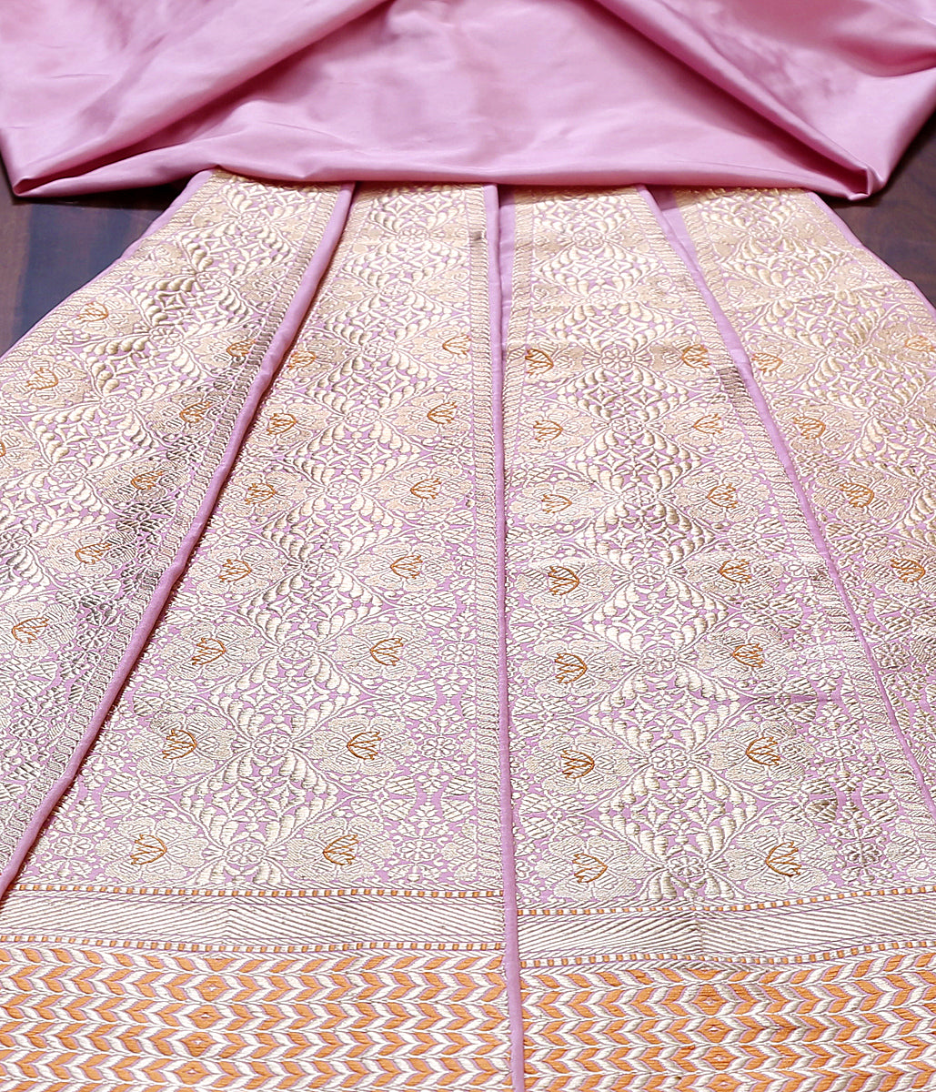 Handwoven Banarasi Lehenga panels in blush pink with meenakari
