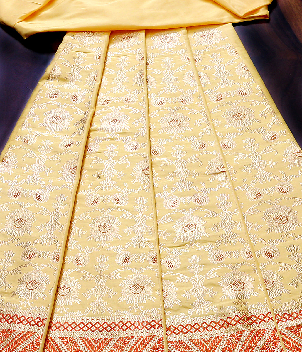 Handwoven Banarasi Lehenga in a pastel yellow color with meenakari