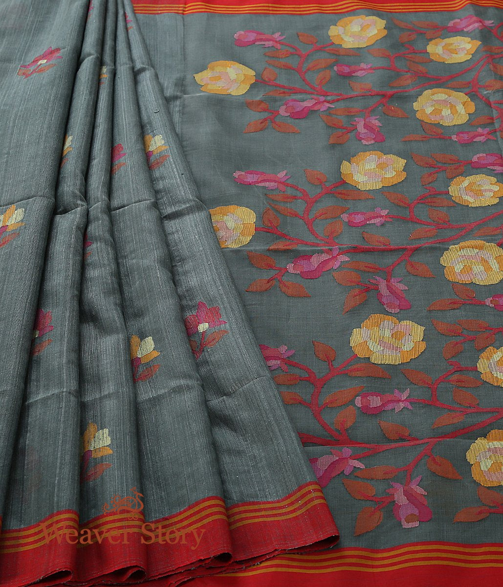 Handwoven Cement Grey Matka Silk Saree with Muslin Jamdani Pallu and Red Border